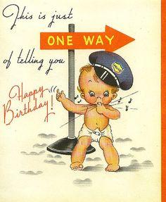 ┌iiiii┐                                                              One Way - Cute Vintage Birthday Card