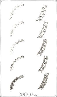 Дудлинг элементы по шагам 13 - как нарисовать красивый бордюр