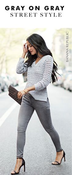 Pair our v-neck open-stitch knit sweater with gray jeans for a chic monochromatic look | Banana Republic
