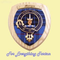 Clan Morgan Tartan Woodcarver Wooden Wall Plaque Morgan Crest 7 x 8.  I've never seen this rendition of our crest....