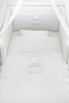 Baby Oliver Swarovski white cot and bumper set