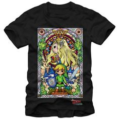Nintendo The Legend of Zelda The Wind Waker Regal Stained Glass Black... ($17) ❤ liked on Polyvore featuring tops, t-shirts, stained glass t shirt, nintendo tee, nintendo and nintendo t shirts