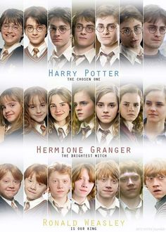 Harry Potter Hermione Granger and Ron Weasley through the years of Hogwarts Memes Do Harry Potter, Mundo Harry Potter, Harry Potter Cast, Harry Potter Love, Harry Potter Fandom, Harry Potter World, Harry Potter 3rd Movie, Harry Potter Characters Names, Harry Potter Uniform