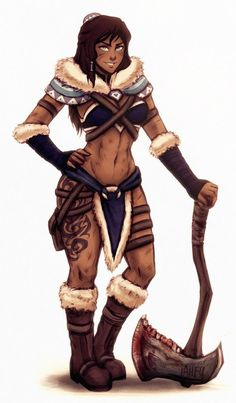 """iahfy: """" """" barbarian korra via stream """" outfit inspiration from l-a-l-o-u! Avatar Characters, Fantasy Characters, Female Characters, Korra Avatar, Team Avatar, Fantasy Warrior, Fantasy Girl, Female Character Design, Character Art"""