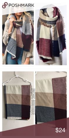 "Waffle knit blanket scarf Measures: 80"" long x 29"" wide Materials: 100% acrylic  These are BEYOND SOFT and huge! They feel like cashmere!  ⭐️This item is brand new without tags 💲Price is firm unless bundled ✅Bundle offers Availability: 3 Style 3722 Accessories Scarves & Wraps"