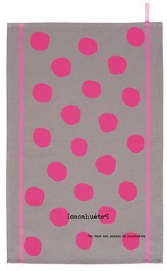 Tea towel cacahuète Fluo pink - torchon a pois rose Fluo