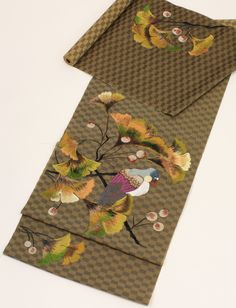 """Parakeet in Ginko Tree"" Nagoya obi from Modern-Antenna."