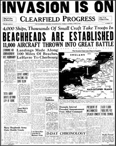 This is a picture of a newspaper page. An article on D-Day, describing the major…
