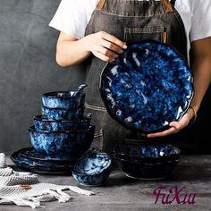 Ceramic Tableware, Ceramic Bowls, Ceramic Pottery, Blue Dishes, Plates And Bowls, Salad Plates, Retro, Dish Sets, Ceramica