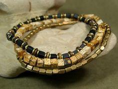 Mens Beaded Bracelet Set by StoneWearDesigns