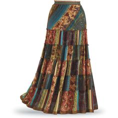 Patchwork Maxi Skirt ($60) ❤ liked on Polyvore featuring skirts, long bohemian skirt, ankle length skirts, steam punk skirt, patchwork maxi skirt and maxi skirts