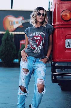 Resultado de imagem para camisao feminino rock and roll