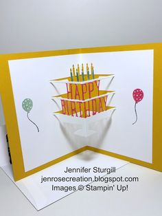 Jen Rose Creation: A Party Without Cake is Just a Meeting!,  Jennifer Sturgill, Stampin' Up!, Party Wishes, Party Pop-Up Thinlits, Birthday