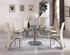 round glass dining table for six people