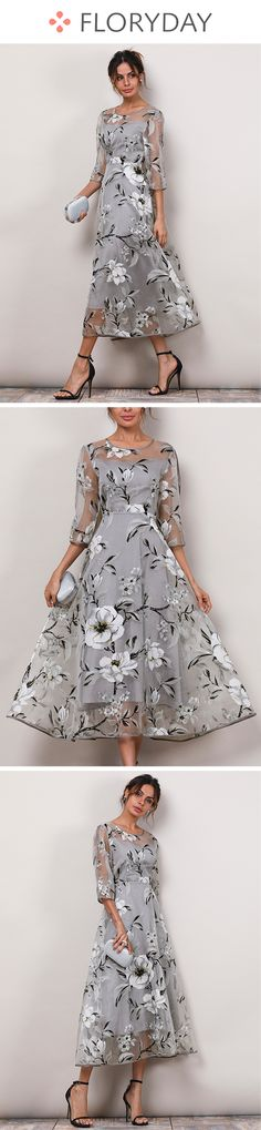 Floral 3/4 Sleeves Midi A-line Dress, floral dress, 3/4 sleeve, midi dress, A-line dress, fashion dress, new trend, summer in 2018.