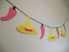 Cinco de Mayo Crafts: Sombrero and Chili Paper Garland pattern