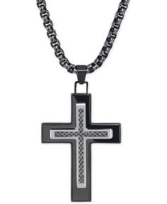 Esquire Men's Jewelry Black Diamond (1/4 ct. t.w.) Cross Necklace in Black IP over Stainless Steel, Only at Macy's | macys.com