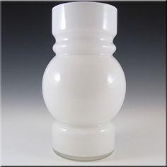 Lindshammar 1970's Swedish White Hooped Cased Glass Vase