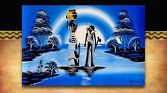 African Art - by the river. Original acrylic on canvass street art from South Africa. See the full range plus 3000 other African products on our website www.earthafricacurio.com. Please also watch our YouTube videos. African Art, South Africa, Street Art, Range, River, Website, Watch, Videos, Youtube