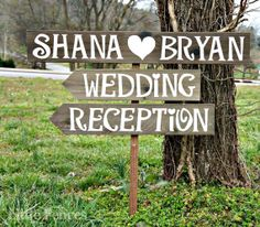 Wedding Reception sign is hand painted with the names of the Bride & Groom with a heart on reclaimed wood. Wedding and Reception arrow signs point your guests in the right direction. Arrows are optional.