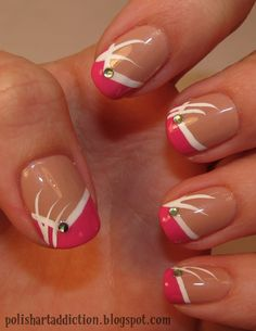 Pink French with nail art.