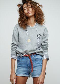 madewell x peanuts® joe cool sweatshirt worn with the terrace lace-up shirt + denim boyshorts.