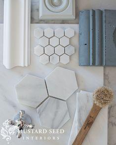 Hanstone Quartz, Antique Brass Chandelier, White Subway Tile Bathroom, Big Bathtub, Before And After Diy, Miss Mustard Seeds, Shower Floor, Dream Decor, Diy Wall Art