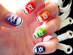 converse inspired nail idea.... Love it since converse is my choice shoe
