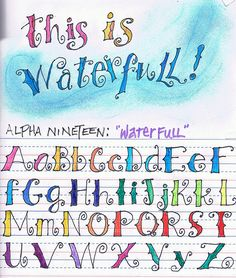 This is Waterfall----alpha 19 Hand Lettering Alphabet, Doodle Lettering, Creative Lettering, Lettering Styles, Calligraphy Letters, Brush Lettering, Doodle Alphabet, Alphabet Fonts, Journal Fonts