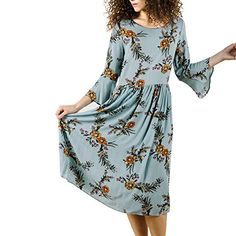 DREAMLOVER Women's Fashion Floral Printed Long Sleeve Casual Dress