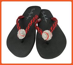 471292b6bbd1a Baseball Flip Flops with Rhinestone Bling Sandals 11 M US - Sandals for  women (