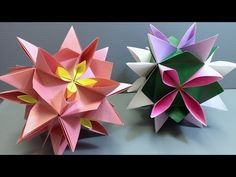How to fold an origami kusudama using water lilies! You can use your own paper, layer things to make beautiful flowers, or use my free design! ---------- My Website: . How to fold a water lily: . Origami Star Box, Origami And Kirigami, Origami Ball, Origami Fish, Diy Origami, Origami Water Lily, Origami Lotus Flower, Origami Lily Instructions, Origami Tutorial