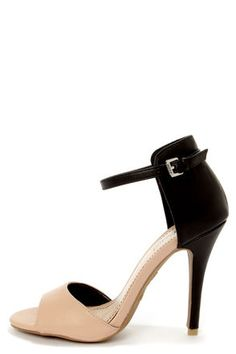 Check it out from Lulus.com! End the search for the perfect single straps with the Anne Michelle Enzo 33 Nude and Black High Heels! A vegan leather split upper in black and dark beige forms a high rise heel cup that reaches up above the ankle for a sophisticated touch, with a skinny wraparound ankle strap that adjusts with a shiny silver buckle (and hidden elastic). 4.5