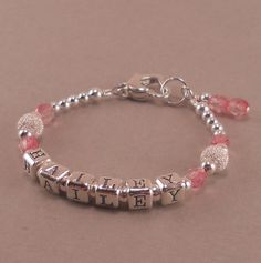 Personalized name bracelet pink pearls little girls jewelry 1st baby girl gift name bracelet negle Choice Image