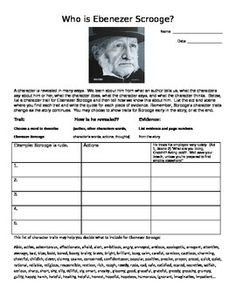 Excellent character analysis sheet review Ebenezer Scrooge in A Christmas Carol by Charles Dickens.  This is a must use! Great! The resource is perfect companion to the story and uses H.O.T. skills (higher order thinking).