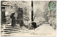Montmartre - Le Château des Brouillards. Nov. 1905 - Temps de Neige A Happy New Year from the Château des Brouillards (1905), Vintage photographic postcard, 1905, circulated in 1907, divided back, published by G.C.A., Paris,