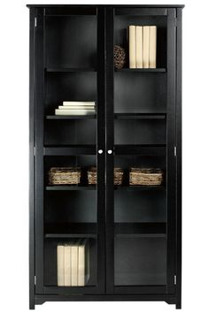 This Home Decorators Collection Oxford Black Glass Door Bookcase creates more counter and storage space in the kitchen, family room or bath. Bookcase With Glass Doors, Black Bookcase, Open Bookcase, Etagere Bookcase, Glass Shelves, Bookshelves, Storage Shelves, Glass Cabinets, Media Storage