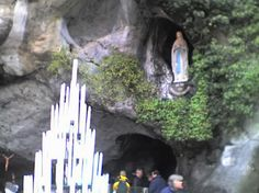 The Grotto at Lourdes.  Our Lady of Lourdes, pray for us! St. Bernadette- patron saint of conversions- pray for us!