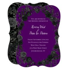 Purple and Black Rose Gothic Wedding Invitations Gothic Wedding Invitations, Custom Invitations, Wedding Themes, Invitation Wording, Wedding Cakes, Invitation Ideas, Red Wedding Receptions, Wedding Fonts, Party Invitations
