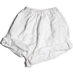 my mum made it Elastic Waist White Shorts ❤ liked on Polyvore