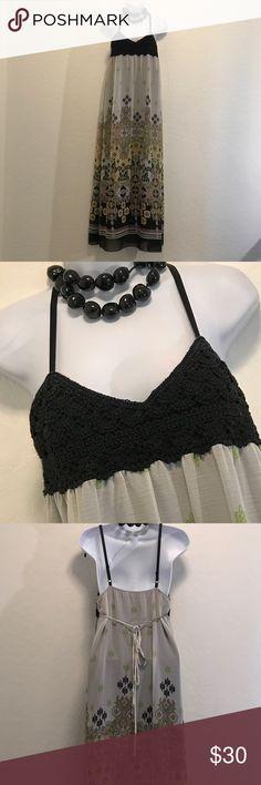 👗NWOT BCX Padded Spaghetti Maxi Dress👗 Never Worn, Spaghetti Adjustable Straps, Empire Waist, Black Crochet Top, Cool Colors & Print, Lined. BCX Dresses Maxi