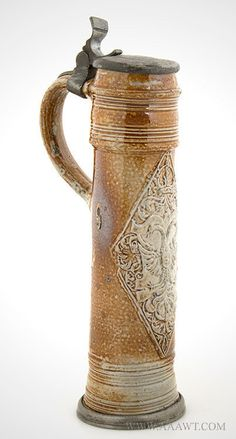 Tankard, Raeren, Schnelle, Tall, German Saltglaze Stoneware, Feature1362