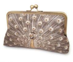 Clutch+bag+silk+purse+peacock+wedding+gold+ochre+by+redrubyrose,+$85.00
