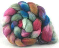Polwarth Wool Roving (Top) - Hand Painted Fibre for Spinning and Felting - 4.4 oz. Pink Carnations and a Pick Up Truck