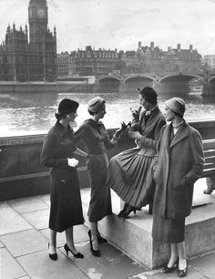 Models wearing clothes by (from left to right) Mattli, Hardy Amies, Charles Creed and Norman Hartnell, photo by John Chillingworth, London, 1954