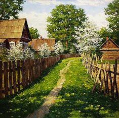 Daisy Path Through The Farm ~ Dimitriy Lyovin ~ Дмитрий Лёвин - художник русского пейзажа