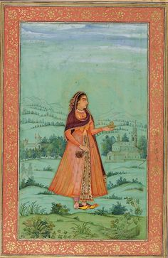 Lady with a wine cup, attributed to Bichitr, 1630-33. Dara Shikoh Album, British…