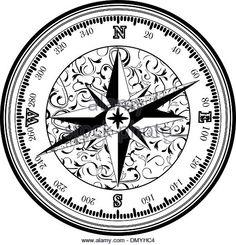 Vinatge antique compass - Stock Image
