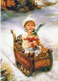 A Time For Giving by Sandra Kuck Christmas Little Girl On Sleigh Christmas Scenes, Christmas Past, Christmas Pictures, Winter Christmas, Christmas Greetings, Xmas, Vintage Christmas Cards, Vintage Cards, Vintage Postcards