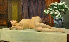 """""""Desnudo Acostado"""" de Vojtěch Hynais (1854-1925)"""